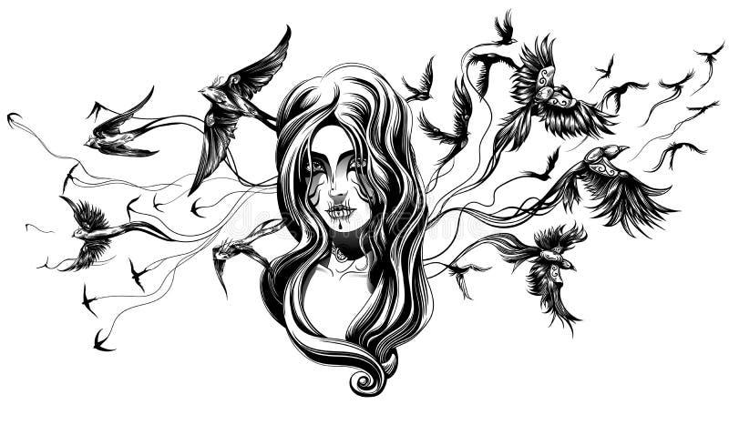 Uma menina do goth ilustração royalty free