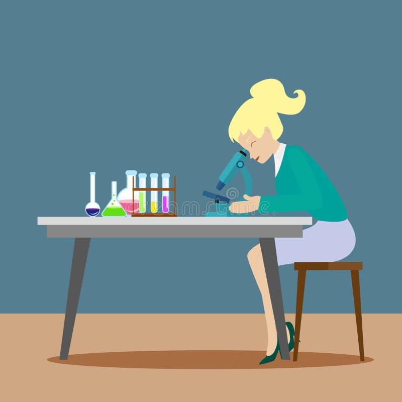Uma menina do químico ou um assistente observam reações químicas através de um microscópio Descobertas científicas novas liso ilustração do vetor