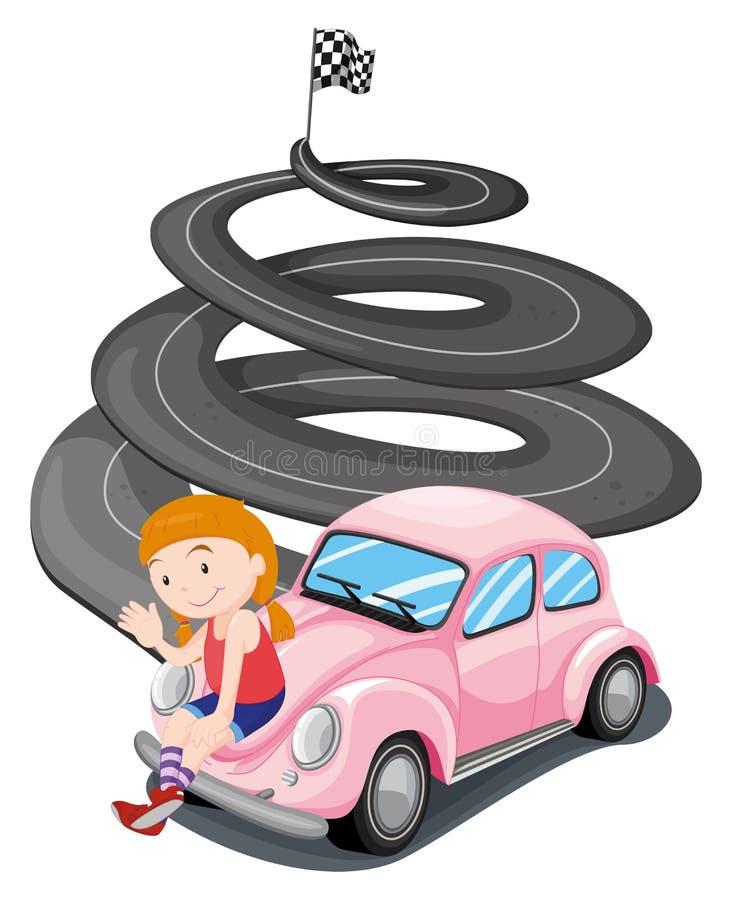 Uma menina e seu carro de competência cor-de-rosa ilustração stock