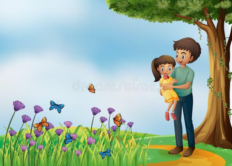 Uma menina e seu pai na cume ilustração stock