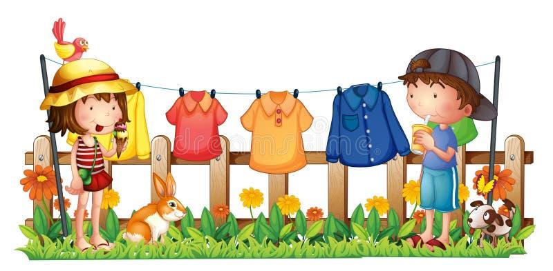 Uma menina e um menino no jardim com a roupa de suspensão ilustração do vetor