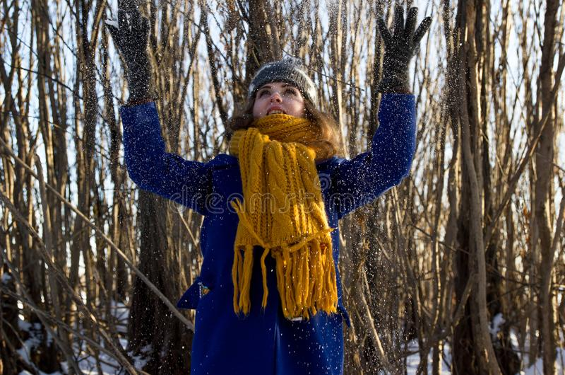 Uma menina em uma caminhada no parque no inverno em uma queda de neve Está vestindo um revestimento roxo e um lenço cinzento do c imagem de stock