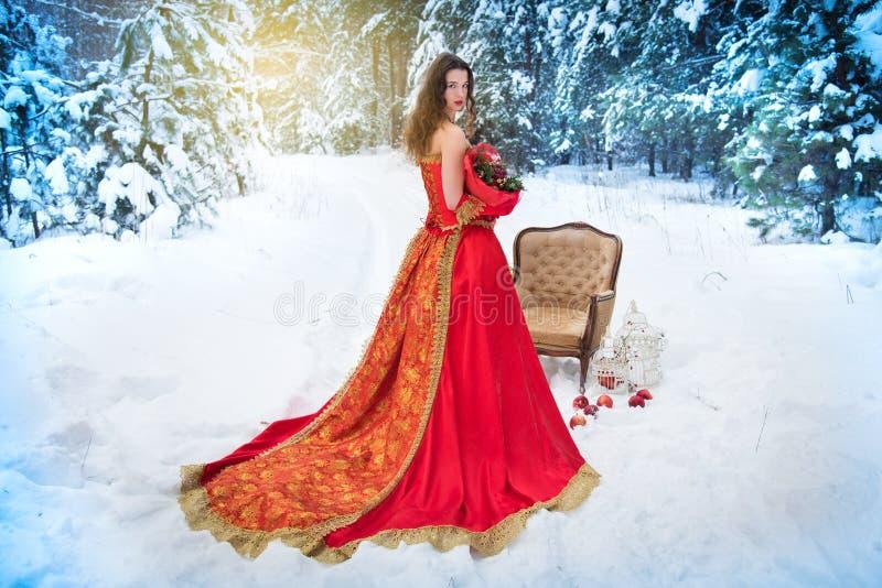Uma menina em uma imagem do conto de fadas de uma rainha levanta em uma floresta coberto de neve do inverno fotos de stock royalty free