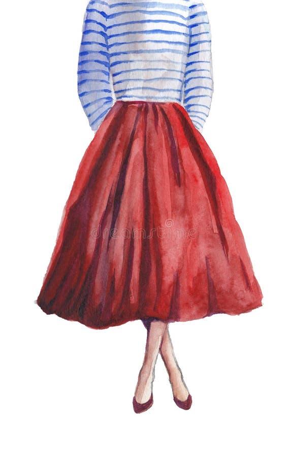 Uma menina em uma saia vermelha luxúria longa e em uma veste listrada ilustração do vetor