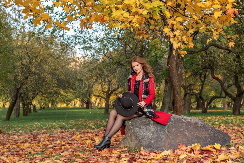 Uma menina em um revestimento vermelho e com um chapéu negro em suas mãos agachou-se em uma pedra na floresta do outono imagens de stock royalty free