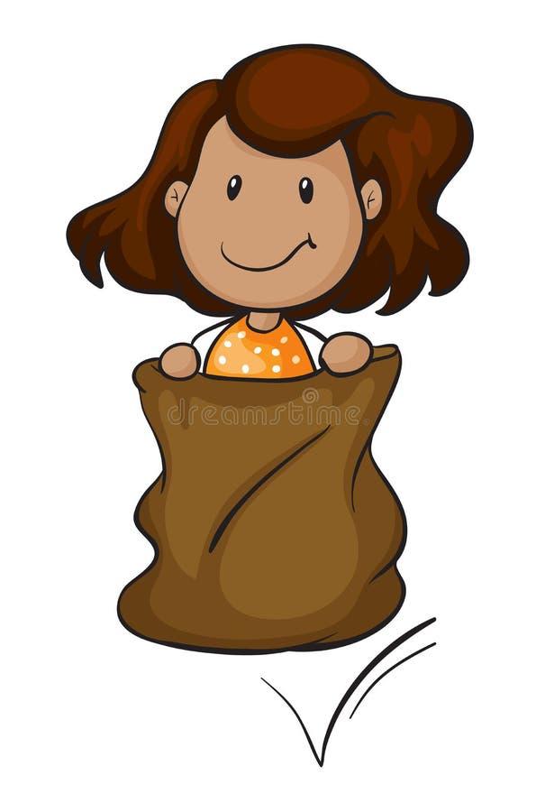 Uma menina em um saco ilustração stock