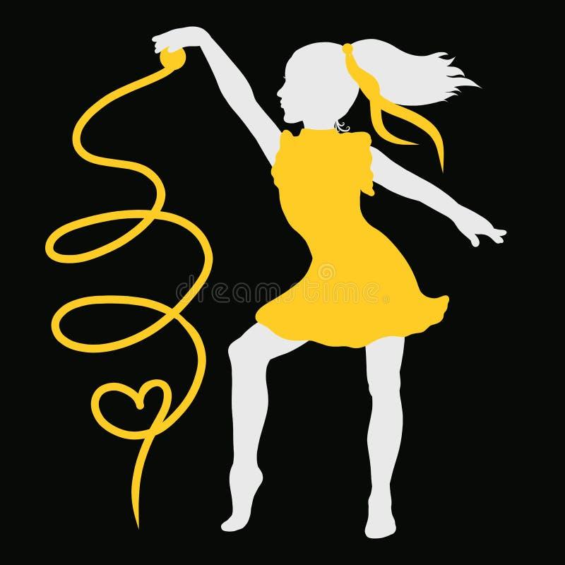 Uma menina em um vestido amarelo, um movimento bonito, uma fita de ondulação ilustração stock