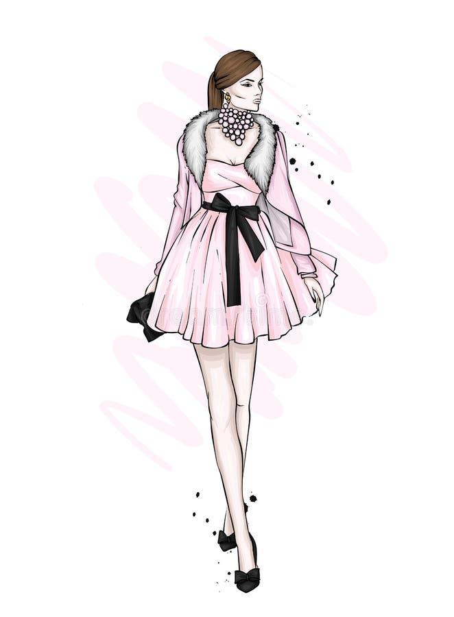 Uma menina em um vestido bonito do vintage Ilustração do vetor Roupa e acessórios, vintage e retro ` S do ano novo e Natal ilustração royalty free