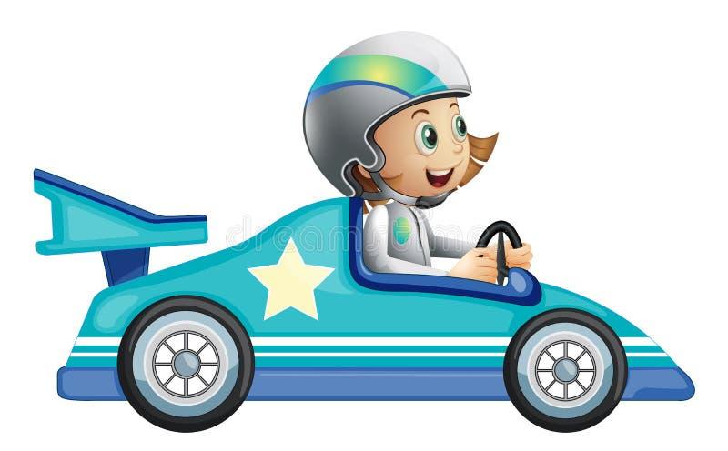 Uma menina em uma competição das corridas de carros ilustração do vetor
