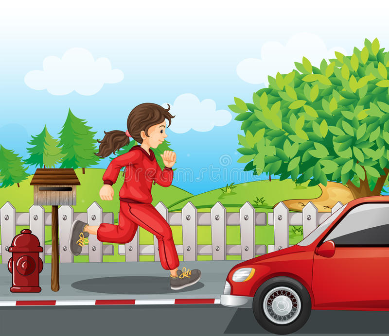 Uma menina em uma corrida vermelha do revestimento e das calças ilustração do vetor