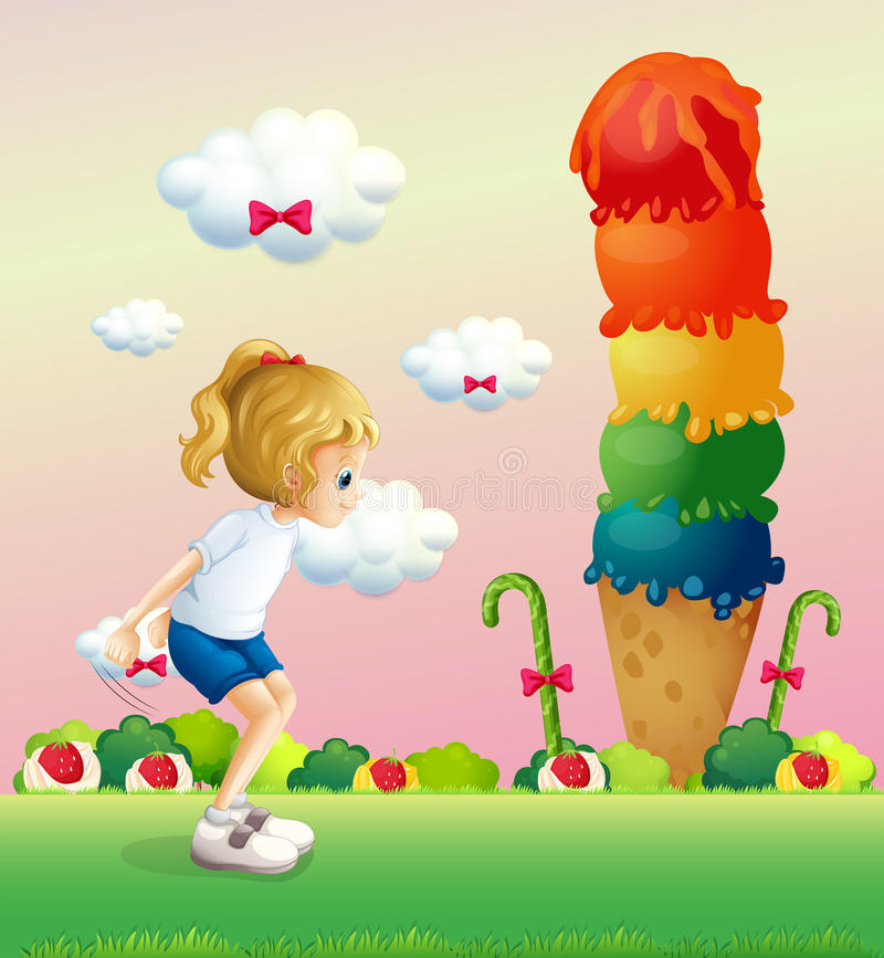 Uma menina em uma posição de salto perto do gelado gigante ilustração do vetor