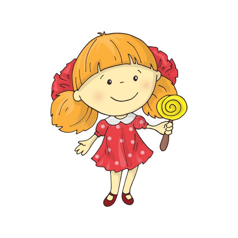 Uma menina encantador bonita dos desenhos animados com um pirulito ilustração royalty free