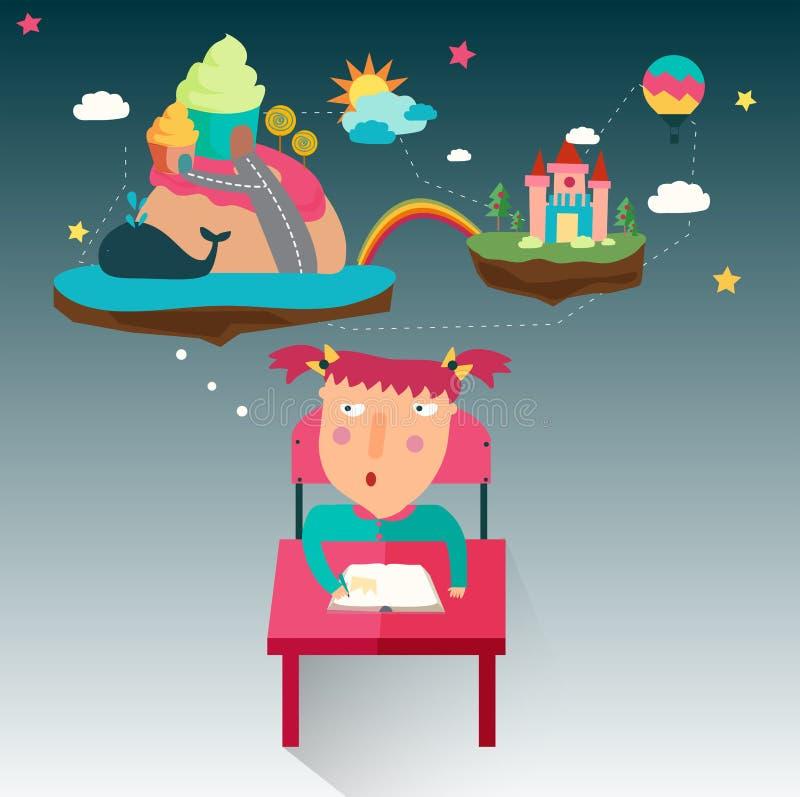 Uma menina escrever uma novela da fantasia quando seu fluxo da imaginação, cr ilustração do vetor