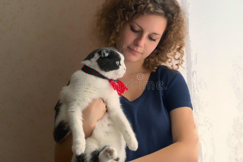 Uma menina está guardando um gato macio em um lenço essa vista fora da janela fotografia de stock