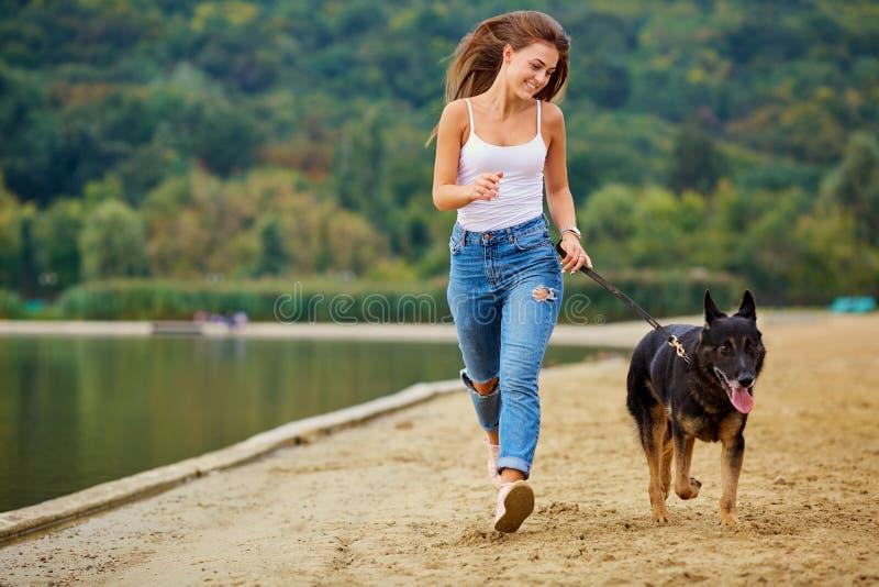 Uma menina está jogando com seu cão na praia no parque do verão imagem de stock