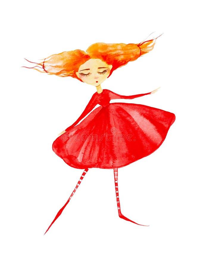 Uma menina feericamente em um vestido vermelho e em umas meias listradas, com o cabelo vermelho que torna-se no vento, dan?as cre ilustração royalty free