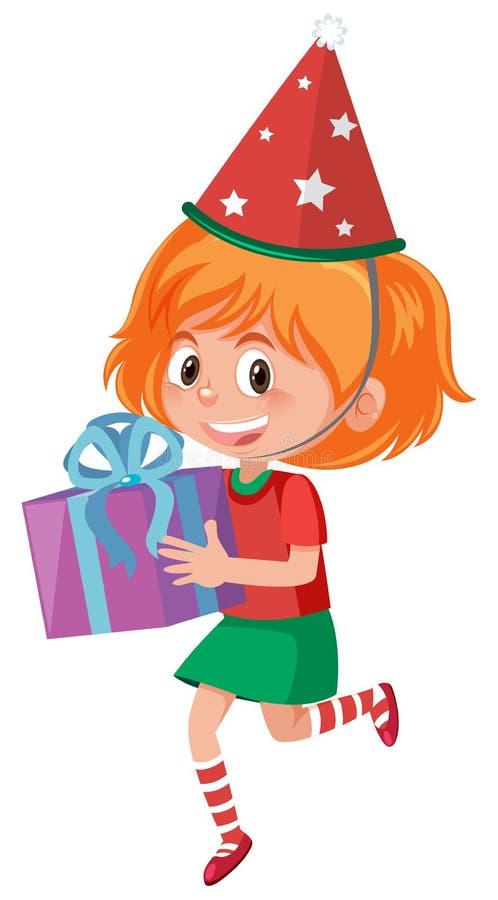 Uma menina feliz com caixa atual ilustração stock