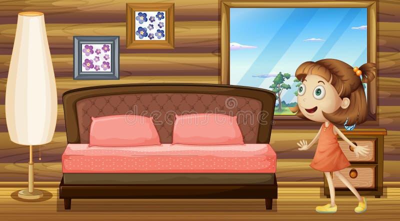 Uma menina feliz dentro de sua cama ilustração royalty free
