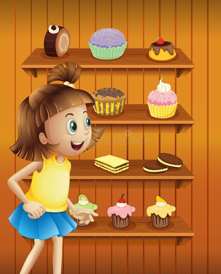 Uma menina feliz na frente dos queques e dos biscoitos ilustração royalty free