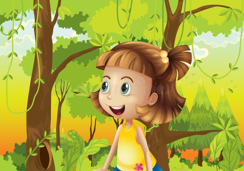 Uma menina feliz perto das árvores ilustração do vetor