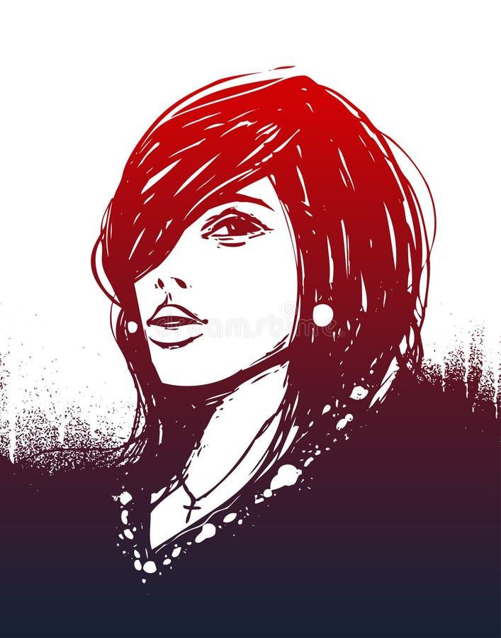 Uma menina hand-drawn ilustração stock