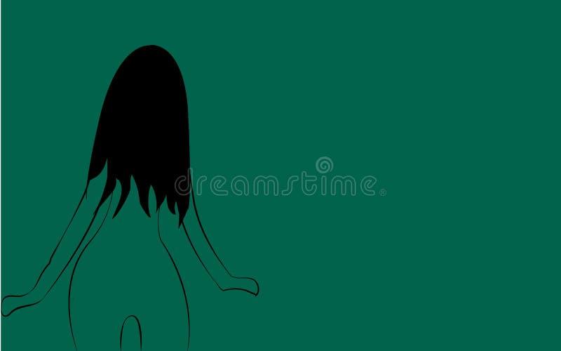 Uma menina macia pequena fina, frágil com uma figura delgada bonita girou com ela para trás com o cabelo longo pintado com linhas ilustração do vetor