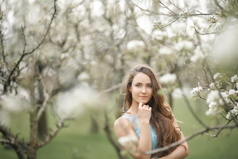 Uma menina modelo à moda nova em um vestido verde longo elegante bonito está em um parque do verão perto dos arbustos luxúrias da imagens de stock royalty free