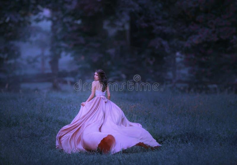 Uma menina moreno corre em uma floresta que encubra na névoa uma senhora em um voo cor-de-rosa, acenando, vestido longo com um tr fotografia de stock royalty free