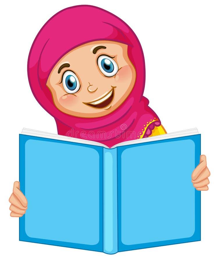 Uma menina muçulmana que lê um livro ilustração royalty free