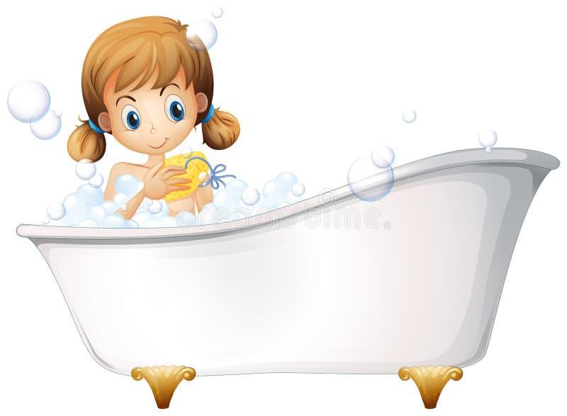 Uma menina na banheira ilustração royalty free