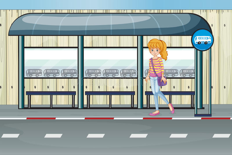 Uma menina na paragem do ônibus ilustração royalty free