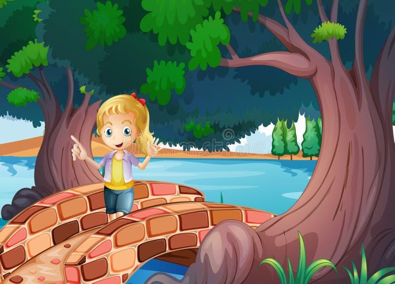 Uma menina na ponte perto das árvores gigantes ilustração stock