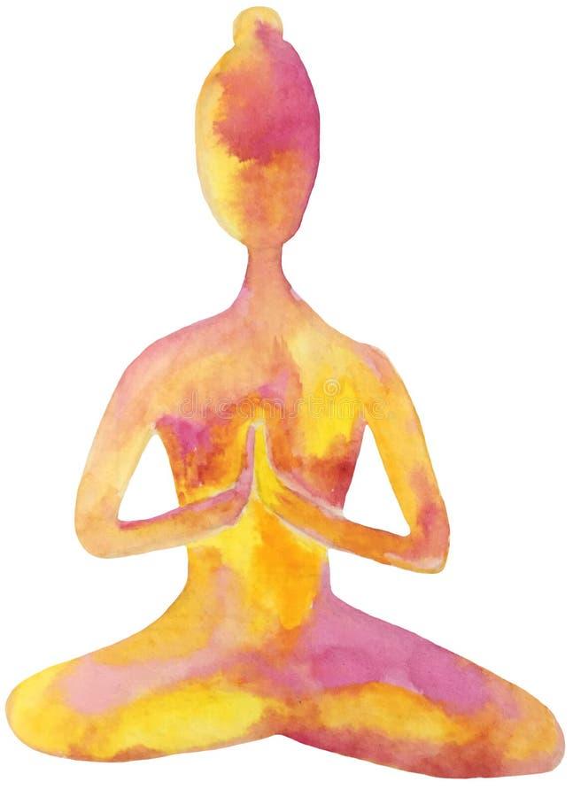 Uma menina na posição de lótus, a prática da meditação na ioga, abrandamento ilustração abstrata da aquarela no rosa alaranjado ilustração royalty free