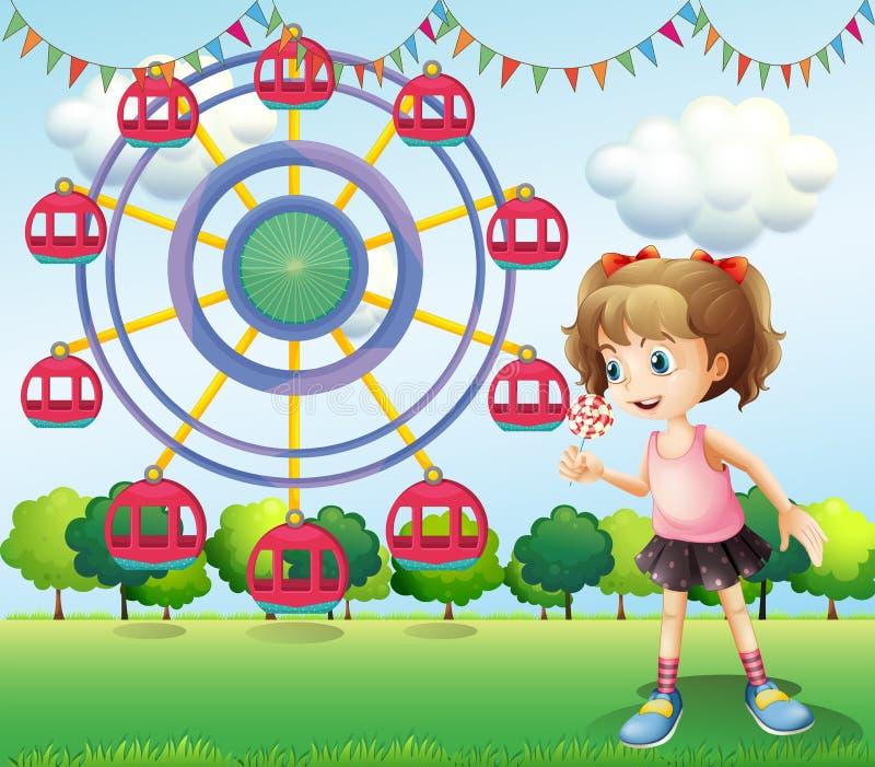 Uma menina no carnaval ilustração stock