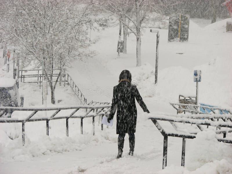 Uma menina no equipamento preto na tempestade das nevadas fortes em UWM fotos de stock royalty free