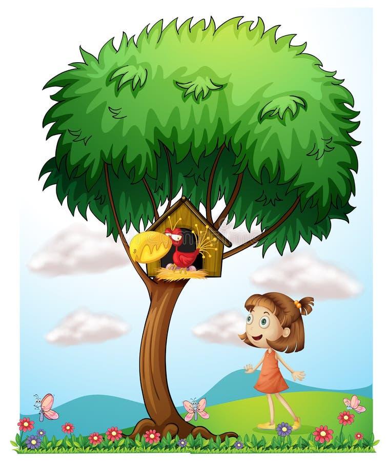 Uma menina no jardim com um pássaro em uma casa do pássaro ilustração royalty free
