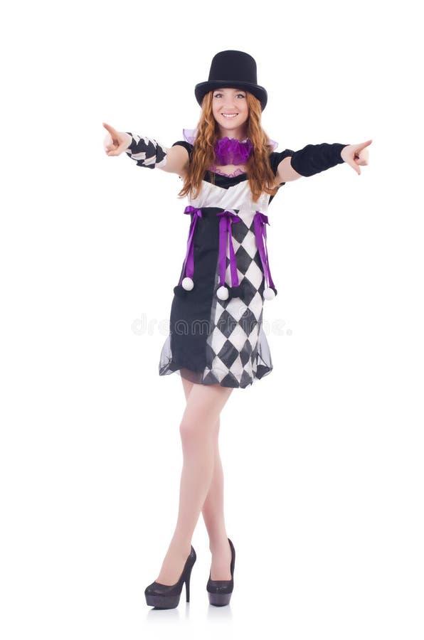 Uma menina no traje do arlequim isolado no branco fotos de stock royalty free