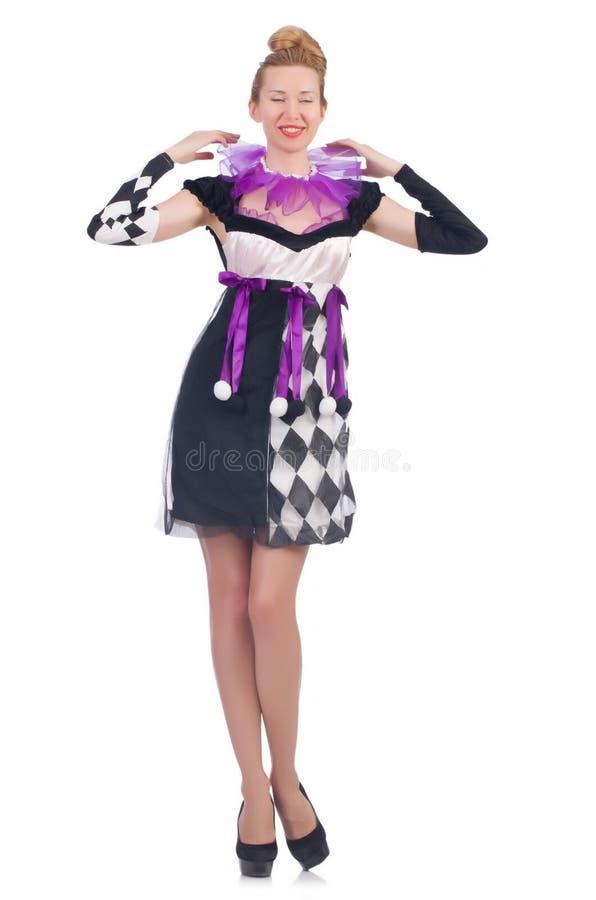 Uma menina no traje do arlequim isolado no branco foto de stock royalty free