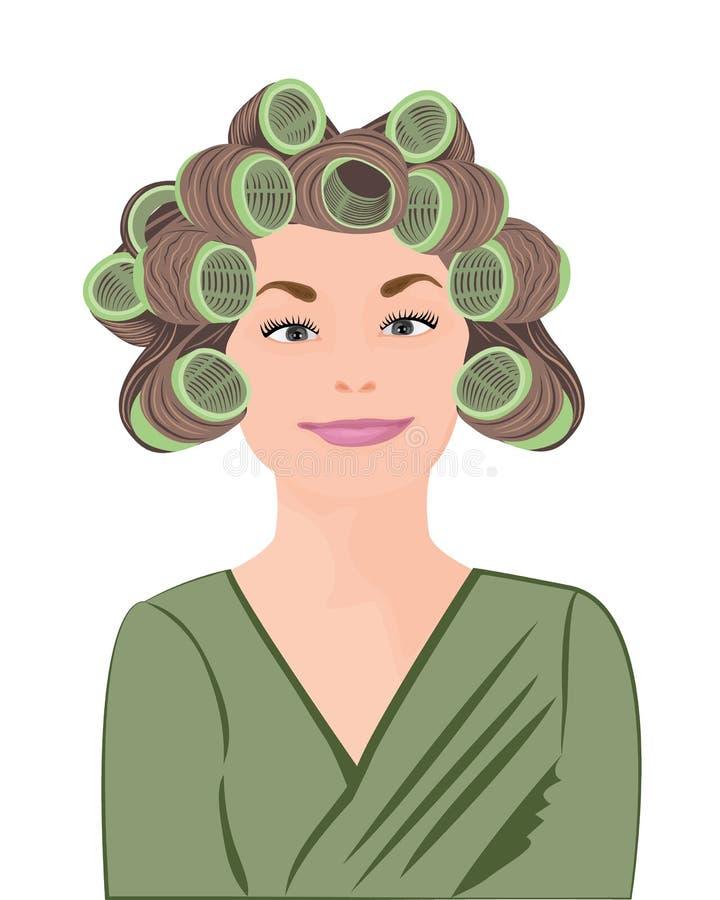 Uma menina ondula seu cabelo ilustração do vetor
