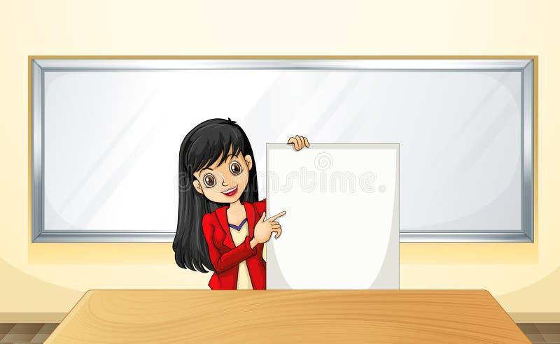 Uma menina perto da tabela que guardara um signage vazio ilustração royalty free