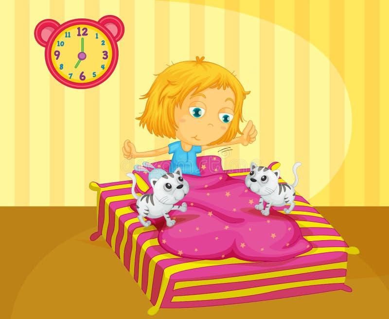 Uma menina que acorda na cama com dois gatinhos ilustração do vetor