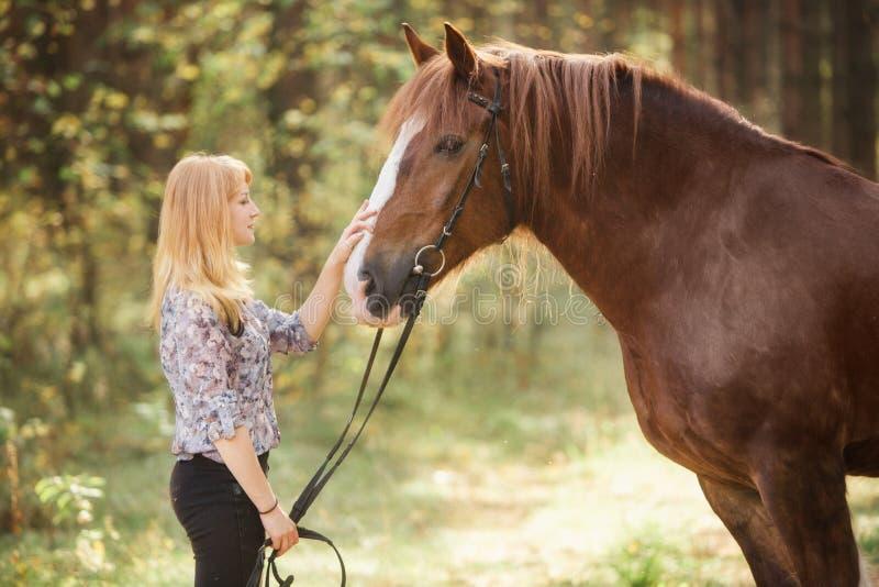 Uma menina que afaga um cavalo em uma floresta do outono fotografia de stock