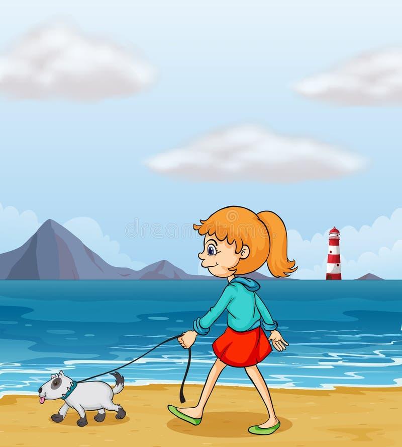 Uma menina que dá uma volta na praia com um cachorrinho ilustração royalty free