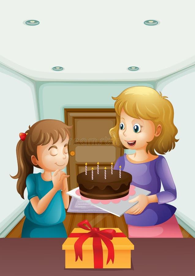 Uma menina que deseja antes de fundir seu bolo de aniversário ilustração royalty free