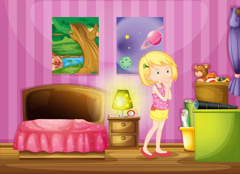 Uma menina que deseja dentro de sua sala ilustração do vetor