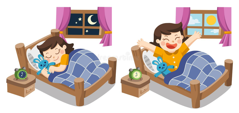 Uma menina que dorme sobre hoje à noite, sonhos doces de boa noite ilustração stock