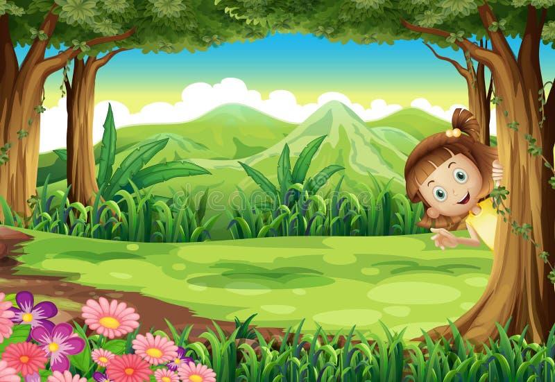 Uma menina que esconde na selva ilustração stock