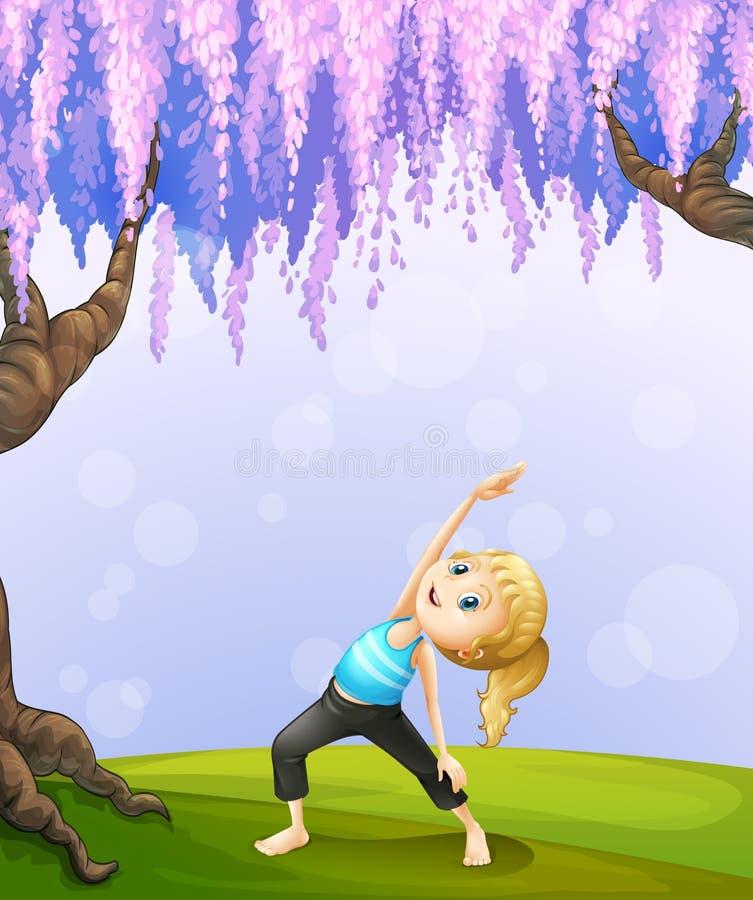 Uma menina que exercita perto da árvore gigante ilustração do vetor