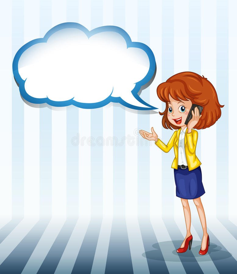 Uma menina que fala com um callout vazio ilustração do vetor