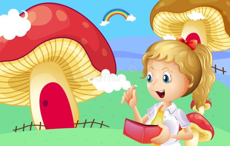 Uma menina que guarda uma carteira perto das casas gigantes do cogumelo ilustração royalty free